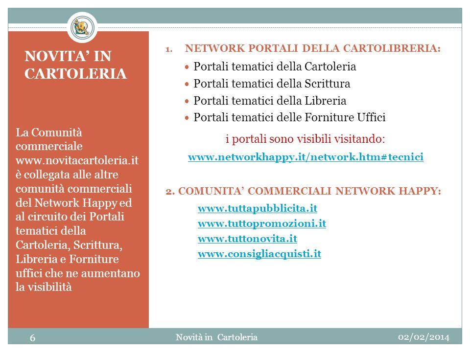 NOVITA IN CARTOLERIA La Comunità commerciale www.novitacartoleria.it è collegata alle altre comunità commerciali del Network Happy ed al circuito dei