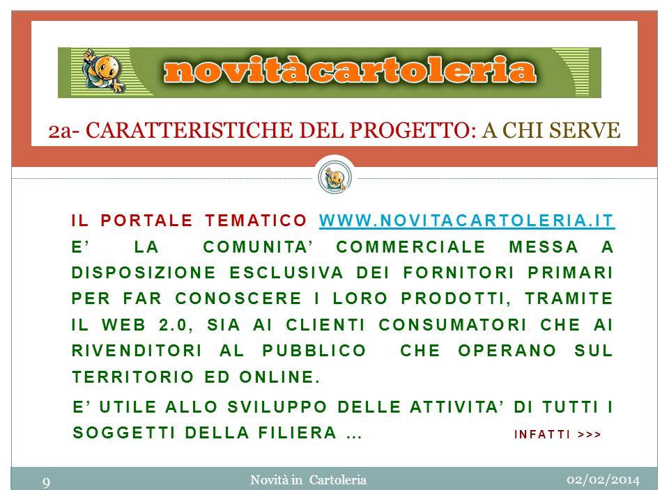 2a- CARATTERISTICHE DEL PROGETTO: A CHI SERVE IL PORTALE TEMATICO WWW.NOVITACARTOLERIA.IT E LA COMUNITA COMMERCIALE MESSA A DISPOSIZIONE ESCLUSIVA DEI