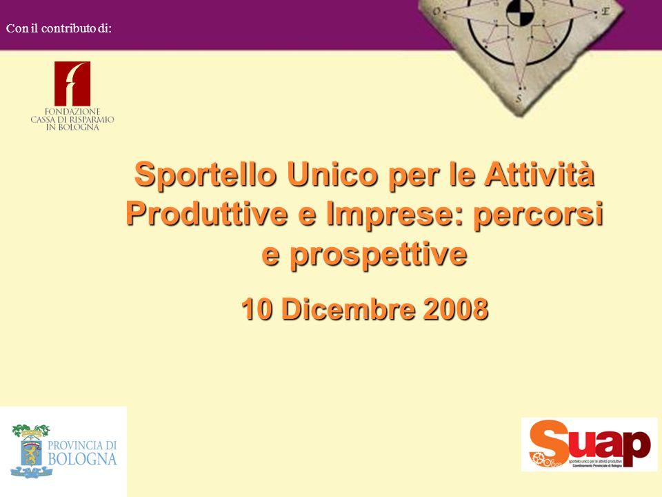 Sportello Unico per le Attività Produttive e Imprese: percorsi e prospettive 10 Dicembre 2008 Con il contributo di:
