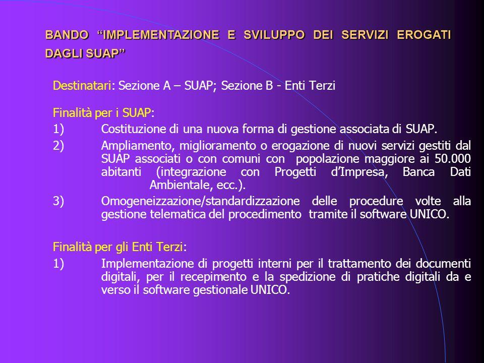 Destinatari: Sezione A – SUAP; Sezione B - Enti Terzi Finalità per i SUAP: 1)Costituzione di una nuova forma di gestione associata di SUAP. 2)Ampliame