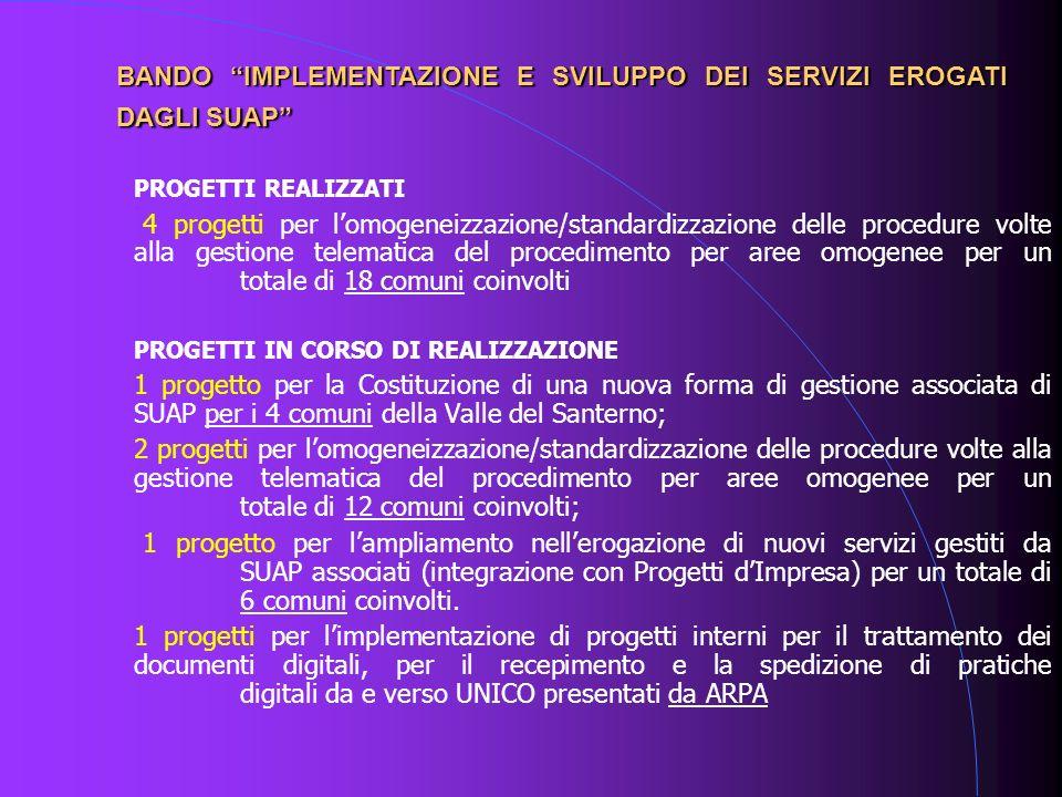PROGETTI REALIZZATI 4 progetti per lomogeneizzazione/standardizzazione delle procedure volte alla gestione telematica del procedimento per aree omogen