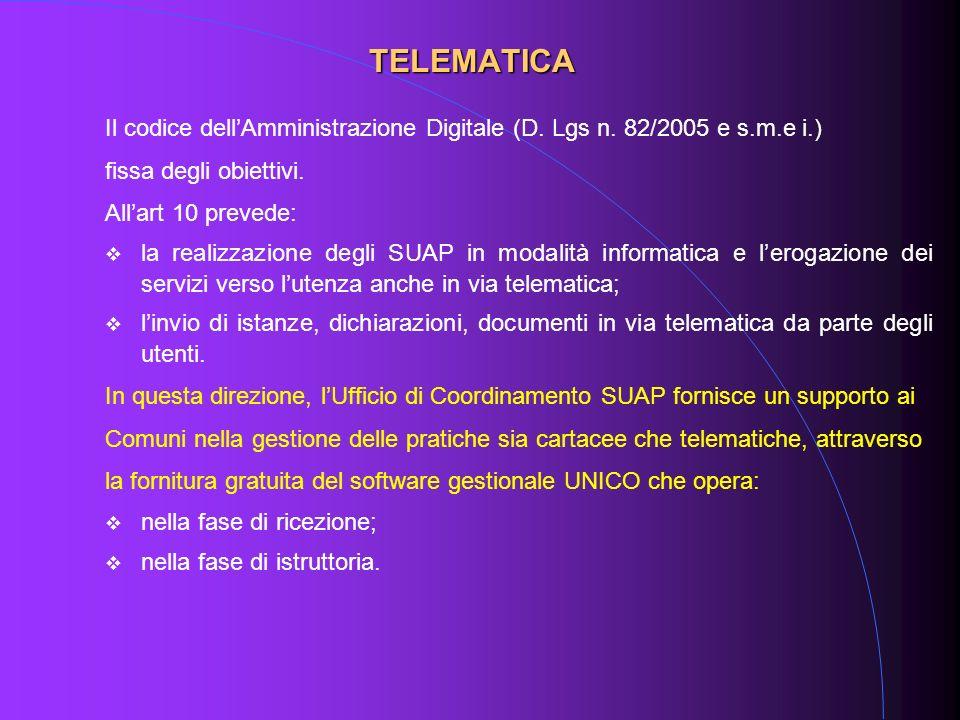 Il codice dellAmministrazione Digitale (D. Lgs n. 82/2005 e s.m.e i.) fissa degli obiettivi. Allart 10 prevede: la realizzazione degli SUAP in modalit