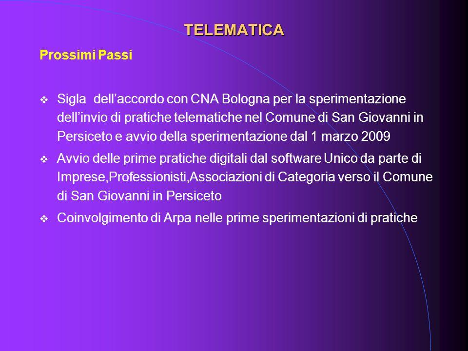 Prossimi Passi Sigla dellaccordo con CNA Bologna per la sperimentazione dellinvio di pratiche telematiche nel Comune di San Giovanni in Persiceto e av
