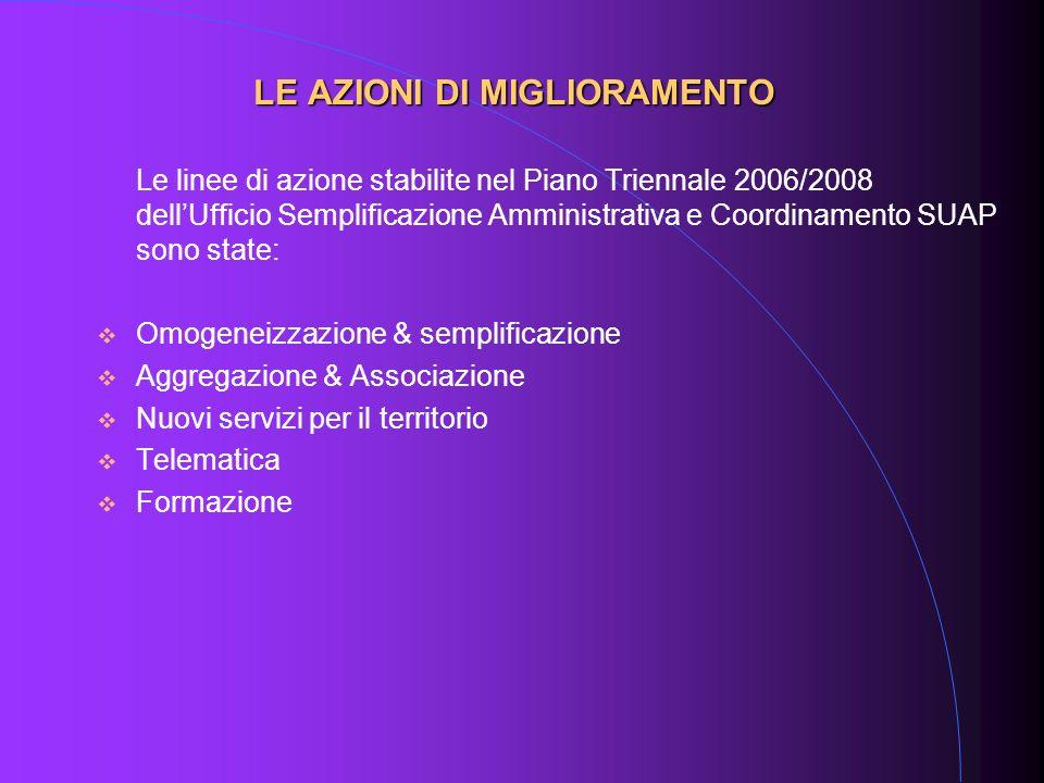 Le linee di azione stabilite nel Piano Triennale 2006/2008 dellUfficio Semplificazione Amministrativa e Coordinamento SUAP sono state: Omogeneizzazion