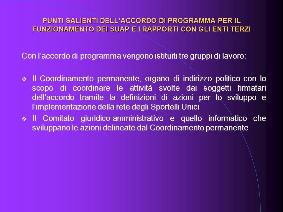Con laccordo di programma vengono istituiti tre gruppi di lavoro: Il Coordinamento permanente, organo di indirizzo politico con lo scopo di coordinare