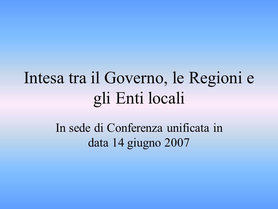 Intesa tra il Governo, le Regioni e gli Enti locali In sede di Conferenza unificata in data 14 giugno 2007