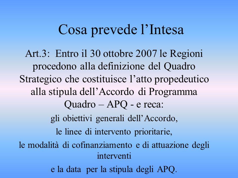 Cosa prevede lIntesa Art.3: Entro il 30 ottobre 2007 le Regioni procedono alla definizione del Quadro Strategico che costituisce latto propedeutico alla stipula dellAccordo di Programma Quadro – APQ - e reca: gli obiettivi generali dellAccordo, le linee di intervento prioritarie, le modalità di cofinanziamento e di attuazione degli interventi e la data per la stipula degli APQ.