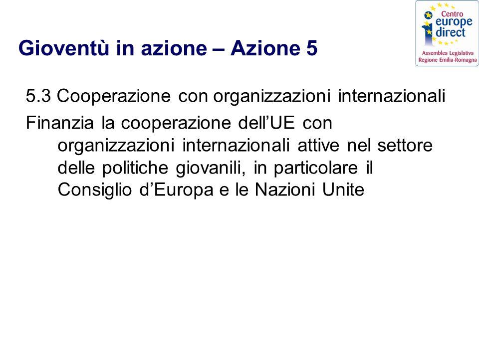 Gioventù in azione – Azione 5 5.3 Cooperazione con organizzazioni internazionali Finanzia la cooperazione dellUE con organizzazioni internazionali attive nel settore delle politiche giovanili, in particolare il Consiglio dEuropa e le Nazioni Unite
