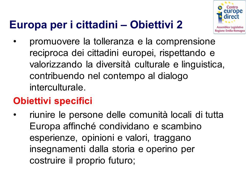 Europa per i cittadini – Obiettivi 2 promuovere la tolleranza e la comprensione reciproca dei cittadini europei, rispettando e valorizzando la diversità culturale e linguistica, contribuendo nel contempo al dialogo interculturale.