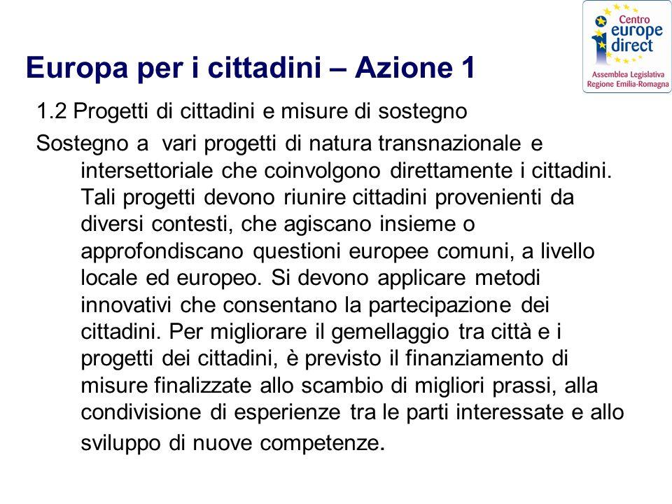 Europa per i cittadini – Azione 1 1.2 Progetti di cittadini e misure di sostegno Sostegno a vari progetti di natura transnazionale e intersettoriale che coinvolgono direttamente i cittadini.