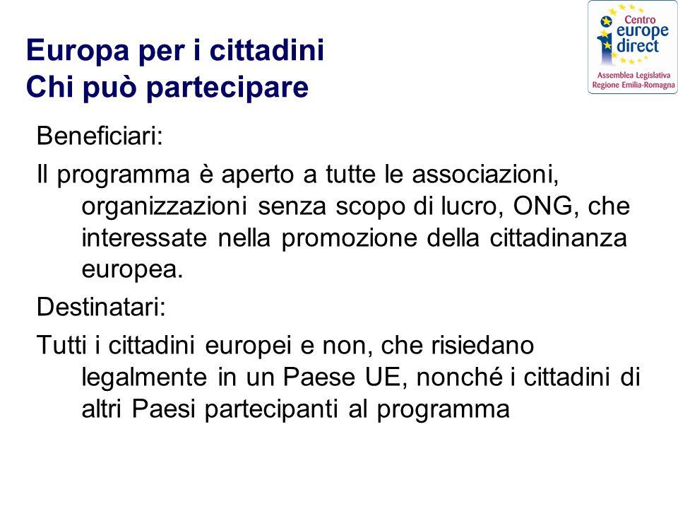 Europa per i cittadini Chi può partecipare Beneficiari: Il programma è aperto a tutte le associazioni, organizzazioni senza scopo di lucro, ONG, che interessate nella promozione della cittadinanza europea.