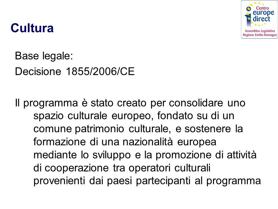 Cultura Base legale: Decisione 1855/2006/CE Il programma è stato creato per consolidare uno spazio culturale europeo, fondato su di un comune patrimonio culturale, e sostenere la formazione di una nazionalità europea mediante lo sviluppo e la promozione di attività di cooperazione tra operatori culturali provenienti dai paesi partecipanti al programma