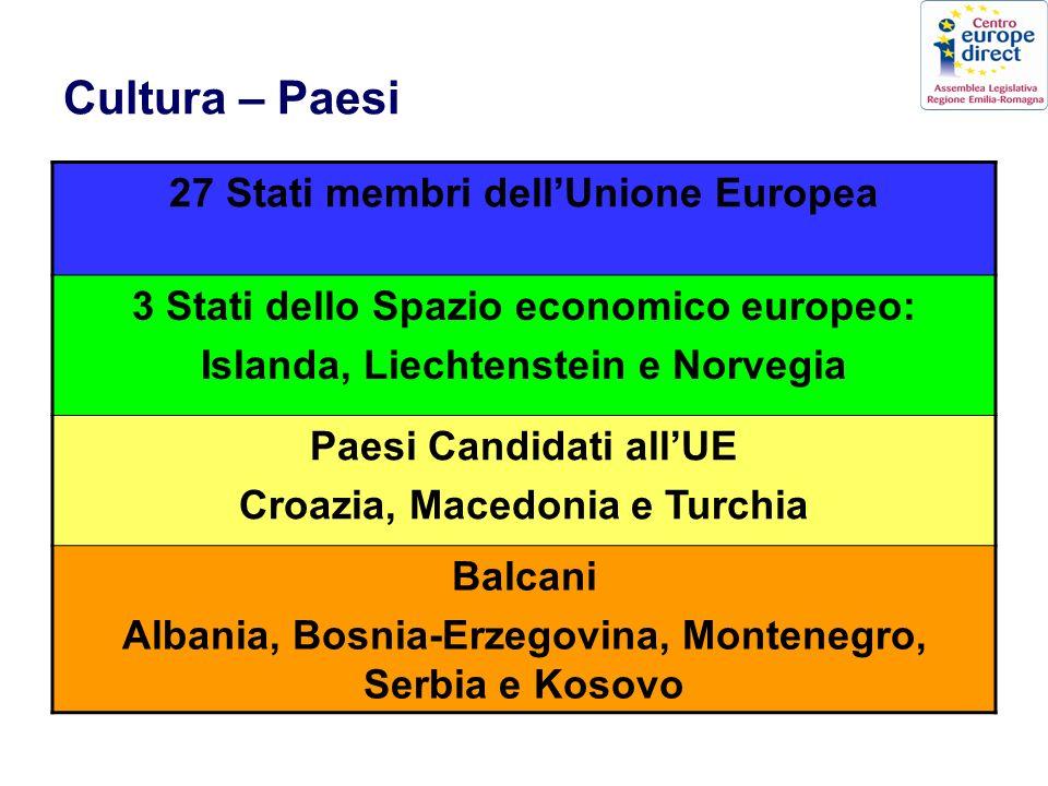 Cultura – Paesi 27 Stati membri dellUnione Europea 3 Stati dello Spazio economico europeo: Islanda, Liechtenstein e Norvegia Paesi Candidati allUE Croazia, Macedonia e Turchia Balcani Albania, Bosnia-Erzegovina, Montenegro, Serbia e Kosovo