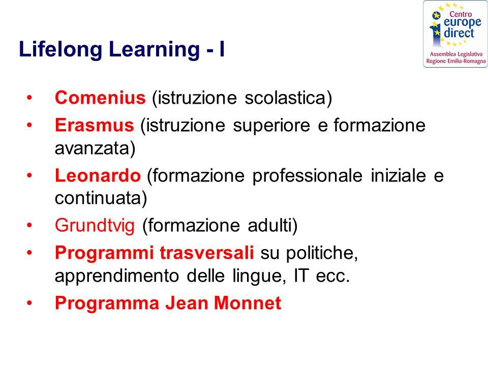 Lifelong Learning - I Comenius (istruzione scolastica) Erasmus (istruzione superiore e formazione avanzata) Leonardo (formazione professionale iniziale e continuata) Grundtvig (formazione adulti) Programmi trasversali su politiche, apprendimento delle lingue, IT ecc.