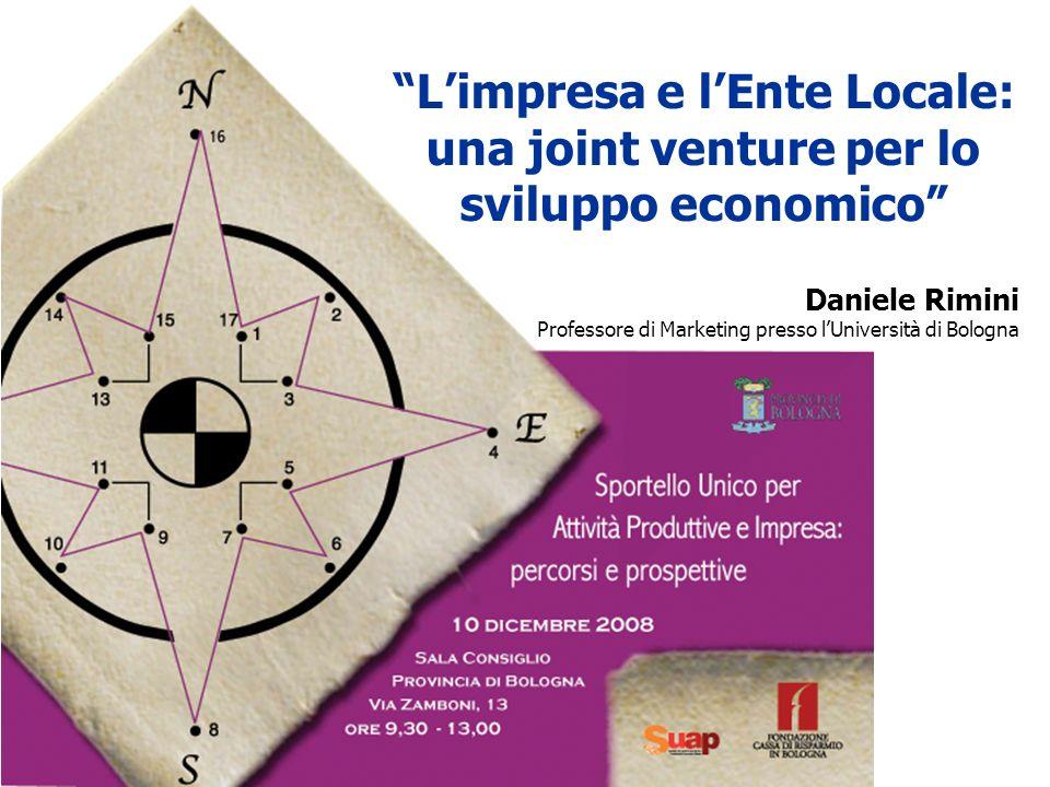 Lo sportello unico per le attività produttive (SUAP) Daniele Rimini Professore di Marketing presso lUniversità di Bologna Limpresa e lEnte Locale: una joint venture per lo sviluppo economico