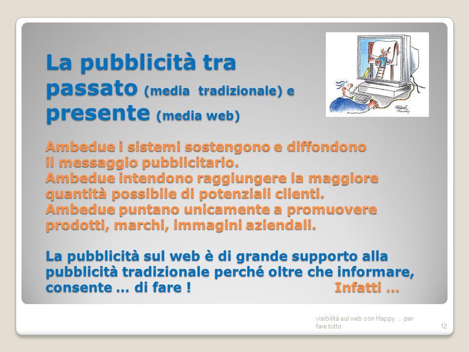 La pubblicità tra passato (media tradizionale) e presente (media web) Ambedue i sistemi sostengono e diffondono il messaggio pubblicitario.