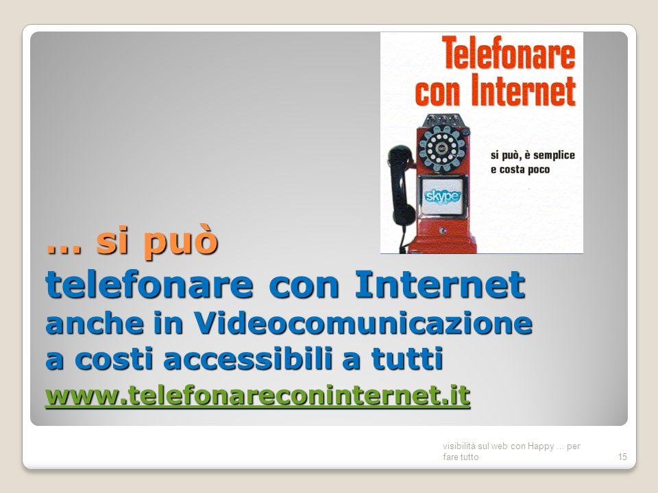 … si può telefonare con Internet anche in Videocomunicazione a costi accessibili a tutti www.telefonareconinternet.it www.telefonareconinternet.it visibilità sul web con Happy...