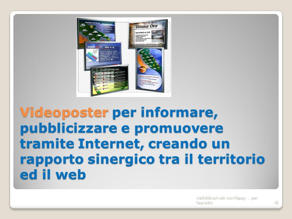 Videoposter per informare, pubblicizzare e promuovere tramite Internet, creando un rapporto sinergico tra il territorio ed il web visibilità sul web con Happy...