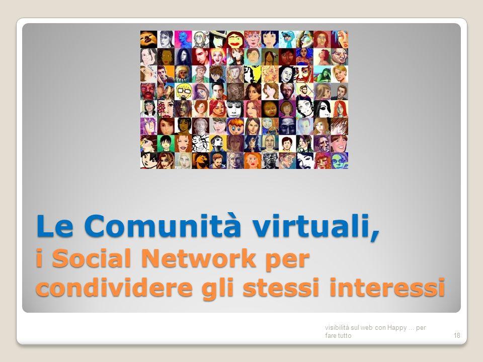 Le Comunità virtuali, i Social Network per condividere gli stessi interessi visibilità sul web con Happy...