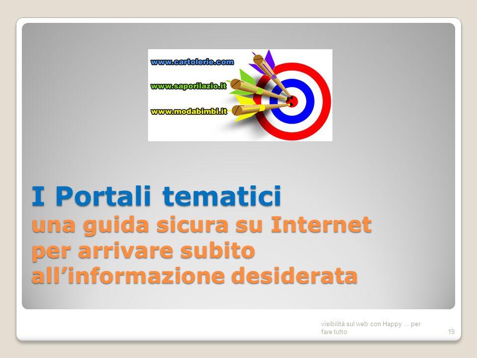 I Portali tematici una guida sicura su Internet per arrivare subito allinformazione desiderata visibilità sul web con Happy...