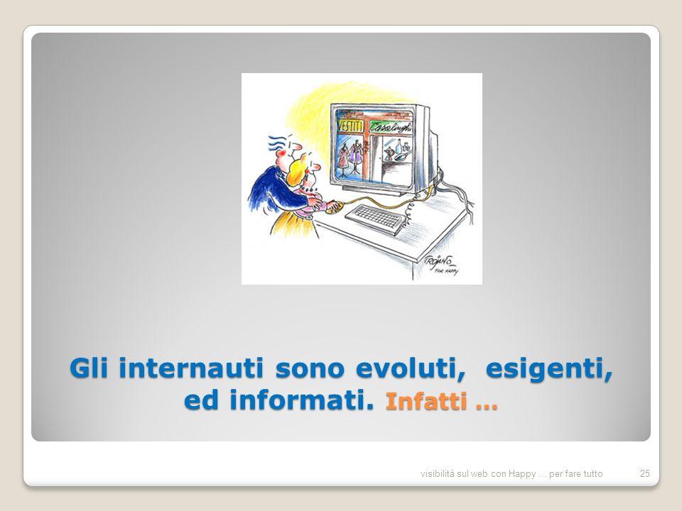 Gli internauti sono evoluti, esigenti, ed informati.