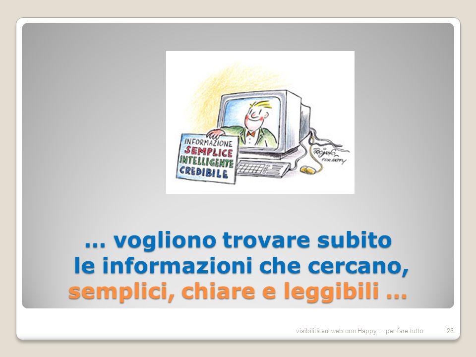 … vogliono trovare subito le informazioni che cercano, semplici, chiare e leggibili … 26visibilità sul web con Happy...