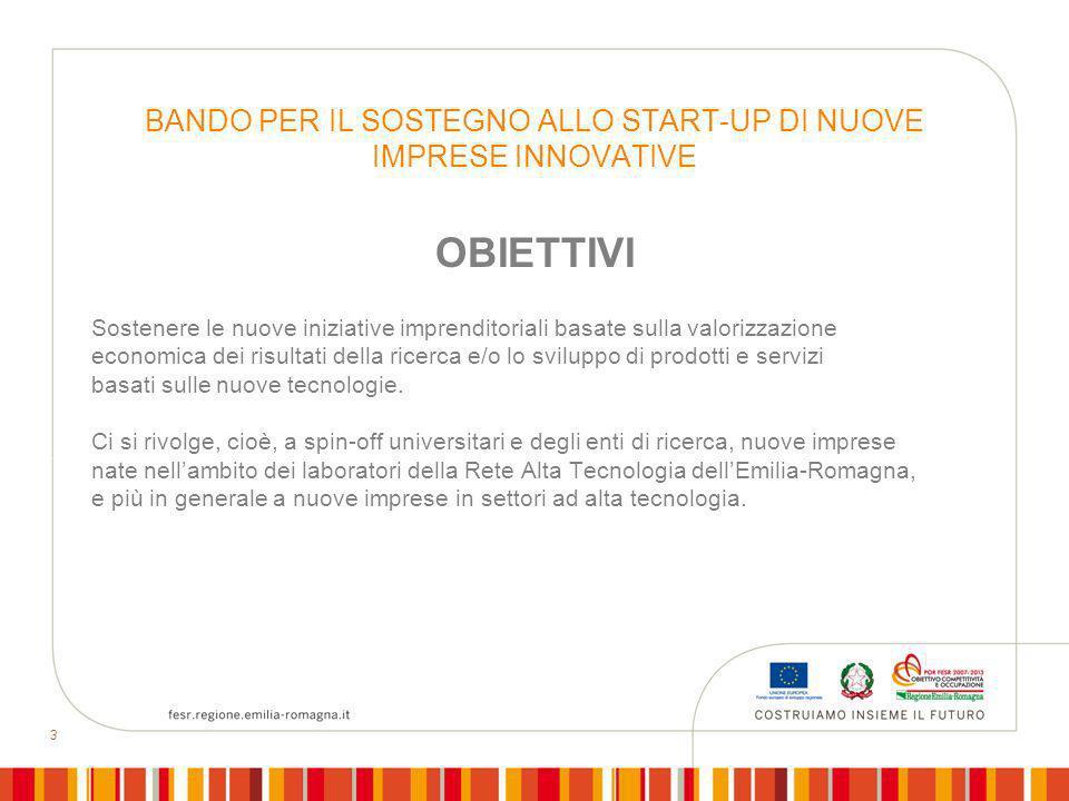 3 BANDO PER IL SOSTEGNO ALLO START-UP DI NUOVE IMPRESE INNOVATIVE OBIETTIVI Sostenere le nuove iniziative imprenditoriali basate sulla valorizzazione