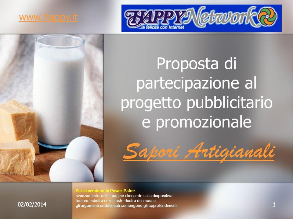 Proposta di partecipazione al progetto pubblicitario e promozionale Sapori Artigianali 02/02/20141 www.happy.it Per la versione in Power Point: avanza