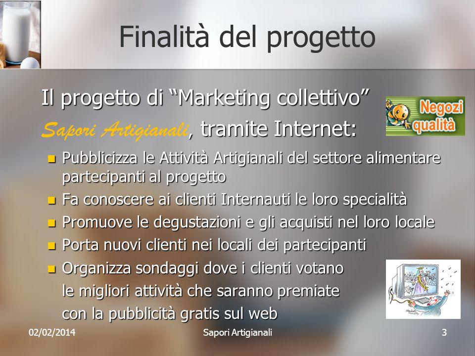 Finalità del progetto Il progetto di Marketing collettivo, tramite Internet: Sapori Artigianali, tramite Internet: Pubblicizza le Attività Artigianali