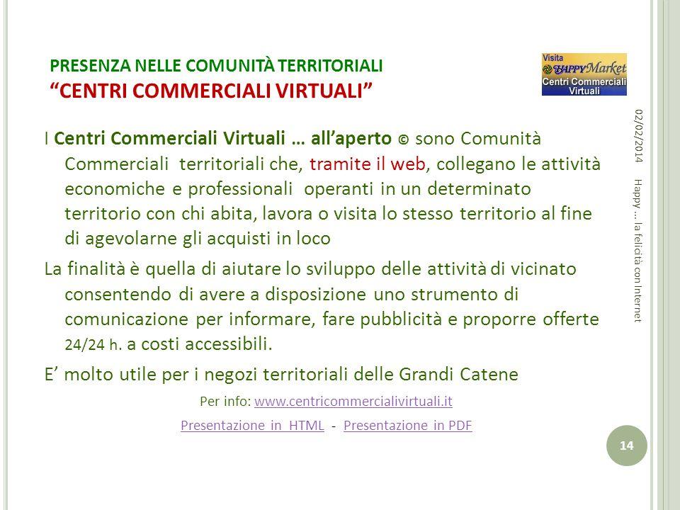PRESENZA NELLE COMUNITÀ TERRITORIALI CENTRI COMMERCIALI VIRTUALI I Centri Commerciali Virtuali … allaperto © sono Comunità Commerciali territoriali ch