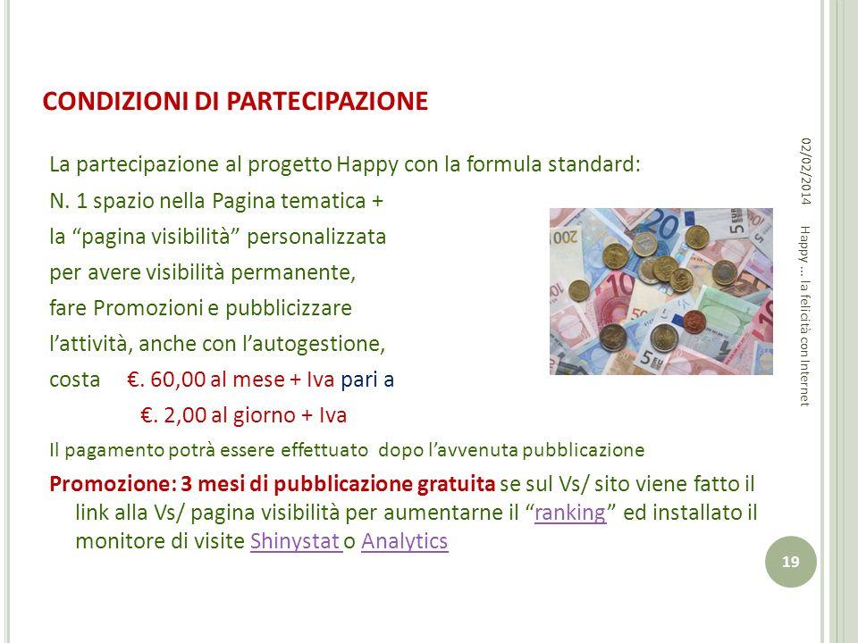 CONDIZIONI DI PARTECIPAZIONE La partecipazione al progetto Happy con la formula standard: N. 1 spazio nella Pagina tematica + la pagina visibilità per