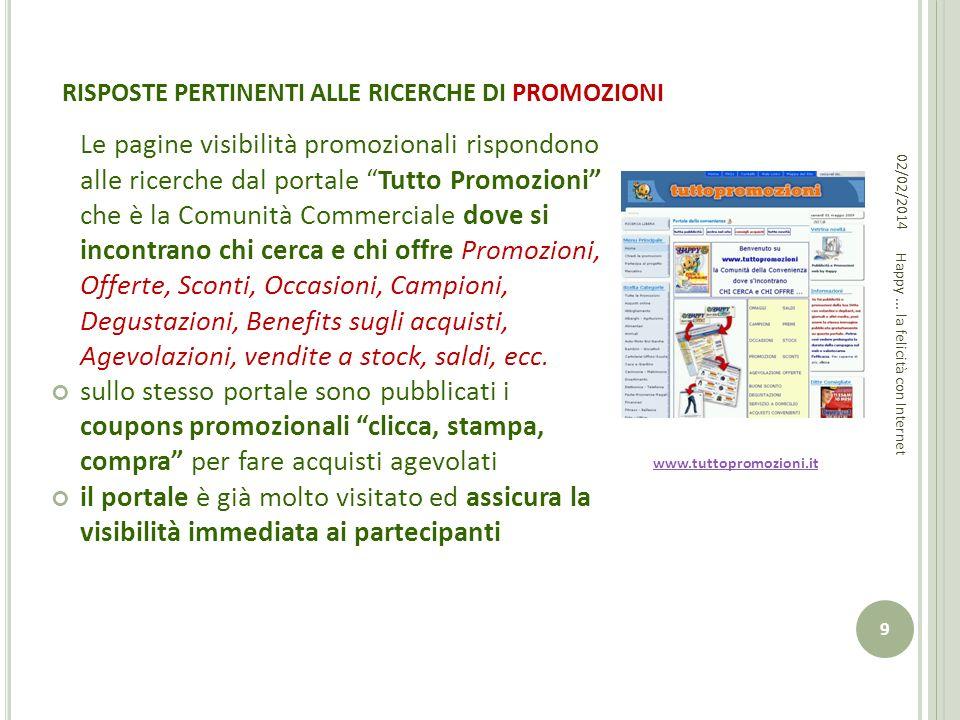 RISPOSTE PERTINENTI ALLE RICERCHE DI PROMOZIONI Le pagine visibilità promozionali rispondono alle ricerche dal portale Tutto Promozioni che è la Comun
