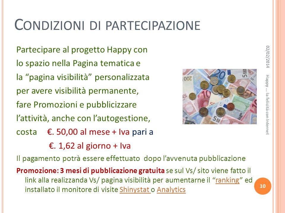 C ONDIZIONI DI PARTECIPAZIONE Partecipare al progetto Happy con lo spazio nella Pagina tematica e la pagina visibilità personalizzata per avere visibi