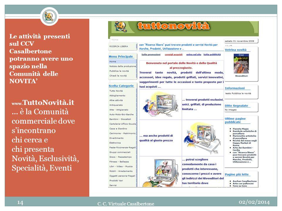 Le attività presenti sul CCV Casalbertone potranno avere uno spazio nella Comunità delle NOVITA www. TuttoNovità.it … è la Comunità commerciale dove s