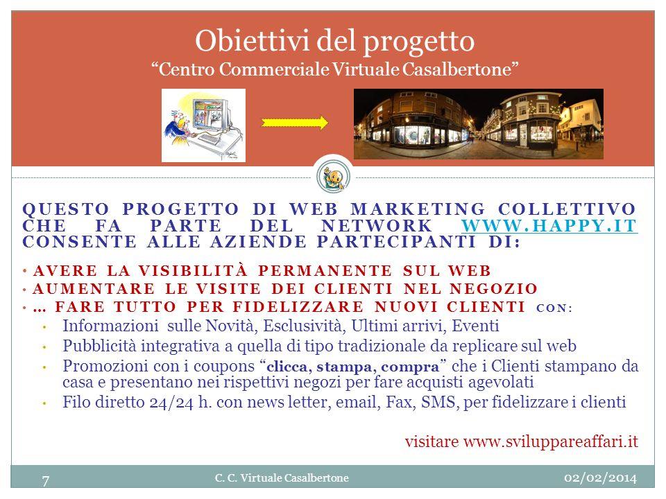 QUESTO PROGETTO DI WEB MARKETING COLLETTIVO CHE FA PARTE DEL NETWORK WWW.HAPPY.IT CONSENTE ALLE AZIENDE PARTECIPANTI DI:WWW.HAPPY.IT AVERE LA VISIBILITÀ PERMANENTE SUL WEB AUMENTARE LE VISITE DEI CLIENTI NEL NEGOZIO … FARE TUTTO PER FIDELIZZARE NUOVI CLIENTI CON: Informazioni sulle Novità, Esclusività, Ultimi arrivi, Eventi Pubblicità integrativa a quella di tipo tradizionale da replicare sul web Promozioni con i coupons clicca, stampa, compra che i Clienti stampano da casa e presentano nei rispettivi negozi per fare acquisti agevolati Filo diretto 24/24 h.