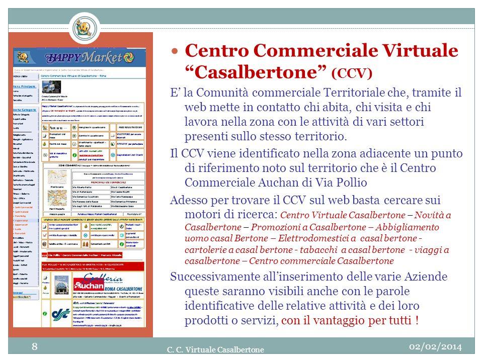 02/02/2014 8 C. C. Virtuale Casalbertone Centro Commerciale Virtuale Casalbertone (CCV) E la Comunità commerciale Territoriale che, tramite il web met