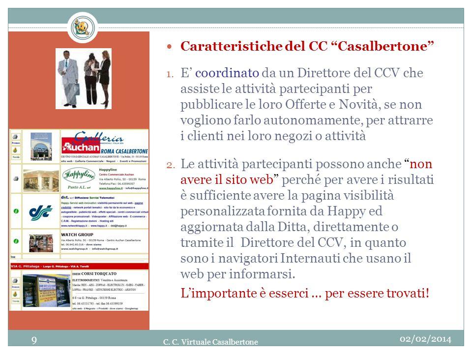 02/02/2014 9 C. C. Virtuale Casalbertone Caratteristiche del CC Casalbertone 1. E coordinato da un Direttore del CCV che assiste le attività partecipa