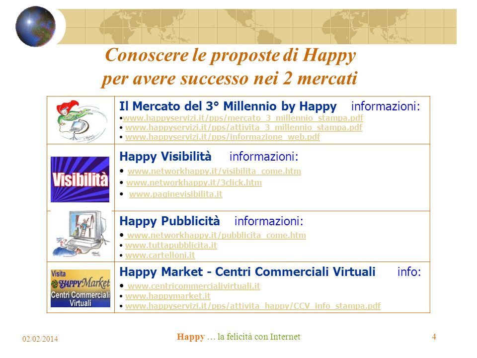 Happy … la felicità con Internet Conoscere le proposte di Happy per avere successo nei 2 mercati Il Mercato del 3° Millennio by Happy informazioni: www.happyservizi.it/pps/mercato_3_millennio_stampa.pdf www.happyservizi.it/pps/attivita_3_millennio_stampa.pdf www.happyservizi.it/pps/informazione_web.pdf Happy Visibilità informazioni: www.networkhappy.it/visibilita_come.htm www.networkhappy.it/3click.htm www.paginevisibilita.it Happy Pubblicità informazioni: www.networkhappy.it/pubblicita_come.htm www.networkhappy.it/pubblicita_come.htm www.tuttapubblicita.it www.cartelloni.it Happy Market - Centri Commerciali Virtuali info: www.centricommercialivirtuali.it www.centricommercialivirtuali.it www.happymarket.it www.happyservizi.it/pps/attivita_happy/CCV_info_stampa.pdf 02/02/2014 4