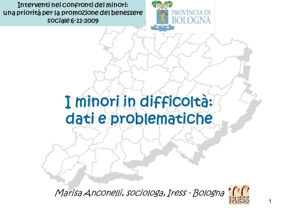 22 La comunità in cui viviamo: i numeri problematici dellarea infanzia, adolescenza, responsabilità famigliari… 26.7% di minori in carico sul totale regionale (10.777 minori) (Fonte:RER_SISAM_31.12.06) …il 40% sono stranieri: si registrano significative differenze distrettuali Il profilo di comunità di Bologna