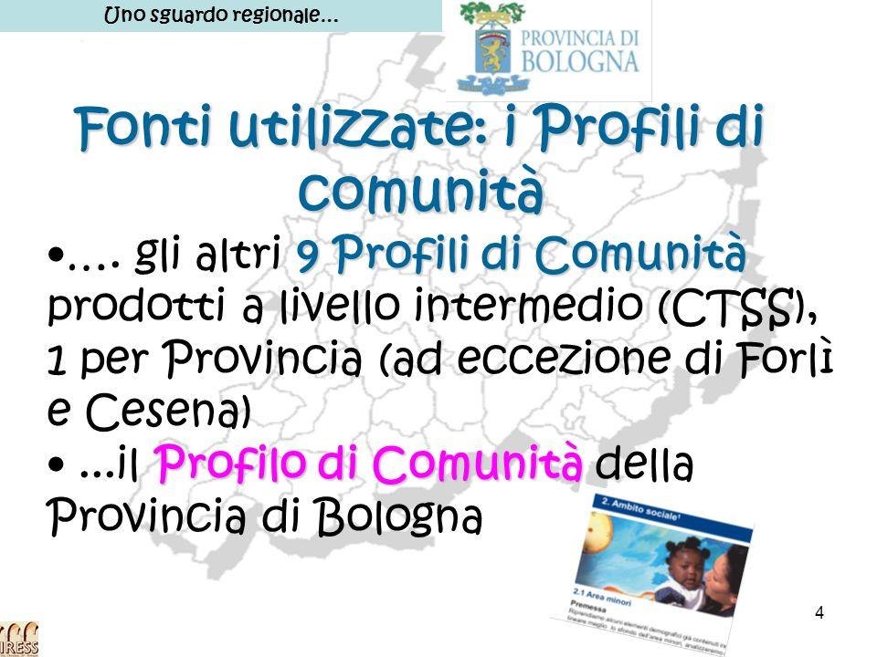 4 Fonti utilizzate: i Profili di comunità Uno sguardo regionale… 9 Profili di Comunità…. gli altri 9 Profili di Comunità prodotti a livello intermedio
