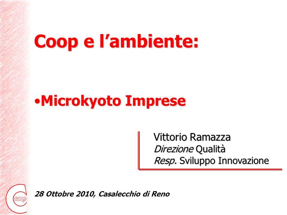 Coop e lambiente: Microkyoto ImpreseMicrokyoto Imprese Coop Italia Vittorio Ramazza Direzione Qualità Resp.