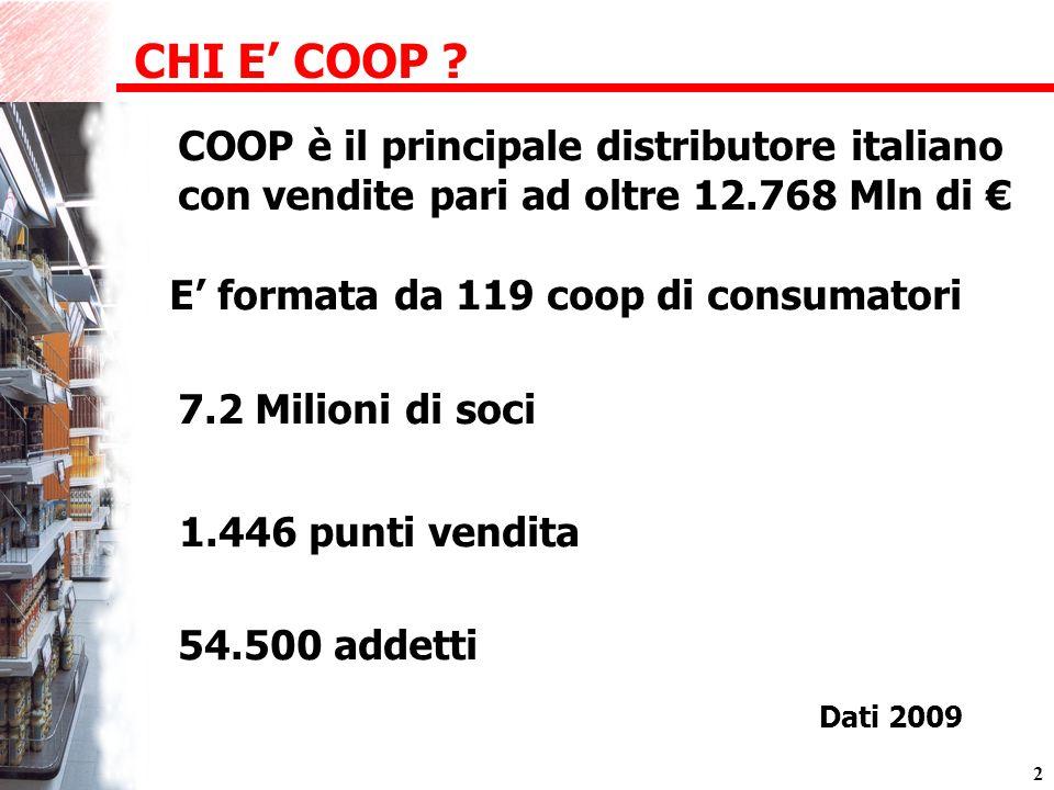 2 54.500 addetti 1.446 punti vendita E formata da 119 coop di consumatori CHI E COOP .