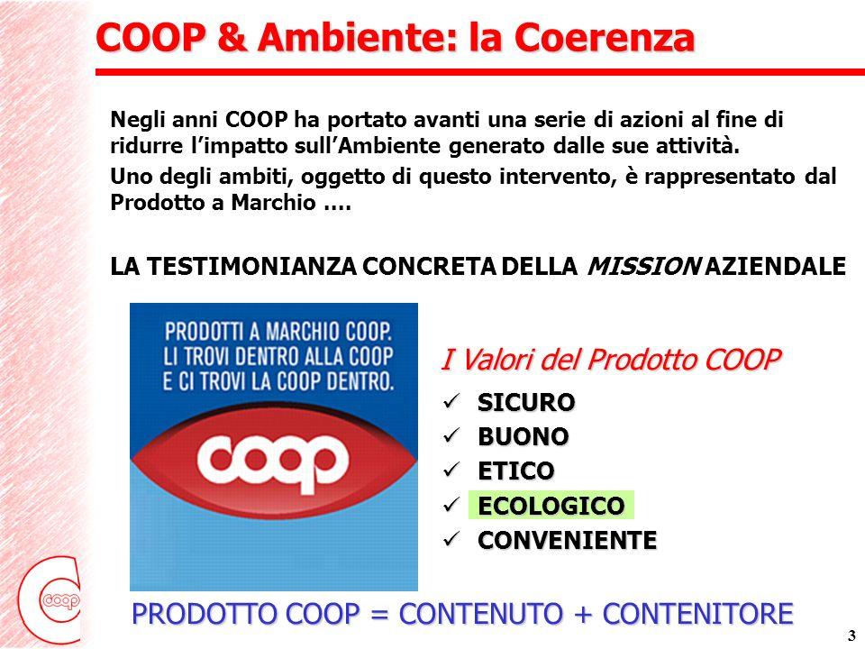 3 COOP & Ambiente: la Coerenza Negli anni COOP ha portato avanti una serie di azioni al fine di ridurre limpatto sullAmbiente generato dalle sue attività.