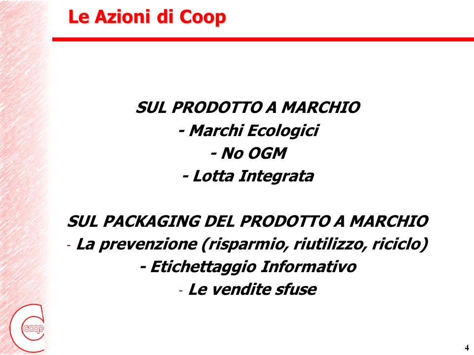 4 Le Azioni di Coop SUL PRODOTTO A MARCHIO - Marchi Ecologici - No OGM - Lotta Integrata SUL PACKAGING DEL PRODOTTO A MARCHIO - La prevenzione (risparmio, riutilizzo, riciclo) - Etichettaggio Informativo - Le vendite sfuse