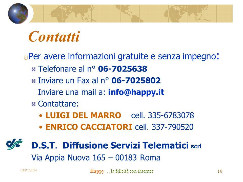 Contatti ۞ Per avere informazioni gratuite e senza impegno : Telefonare al n° 06-7025638 Inviare un Fax al n° 06-7025802 Inviare una mail a: info@happy.it Contattare: LUIGI DEL MARRO cell.