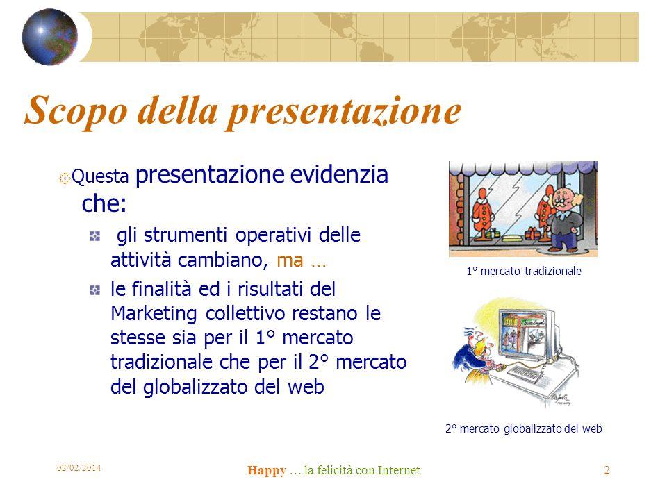 02/02/2014 Happy … la felicità con Internet 2 Scopo della presentazione ۞ Questa presentazione evidenzia che: gli strumenti operativi delle attività c