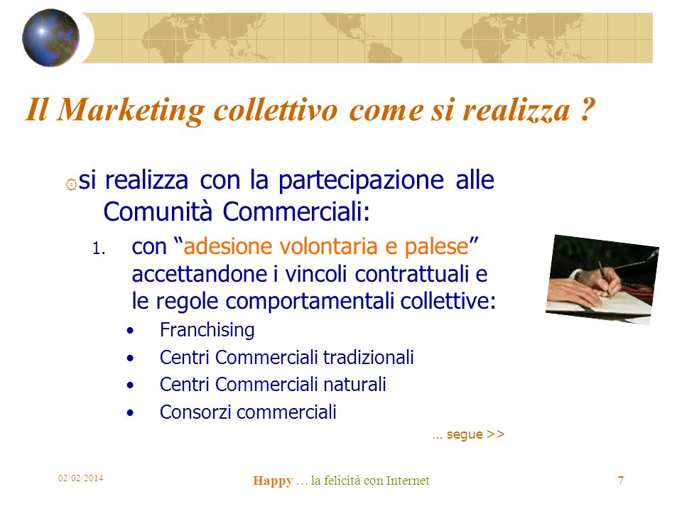 02/02/2014 Happy … la felicità con Internet 7 Il Marketing collettivo come si realizza .