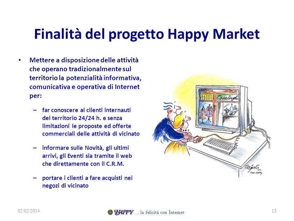 Finalità del progetto Happy Market Mettere a disposizione delle attività che operano tradizionalmente sul territorio la potenzialità informativa, comunicativa e operativa di Internet per: – far conoscere ai clienti internauti del territorio 24/24 h.
