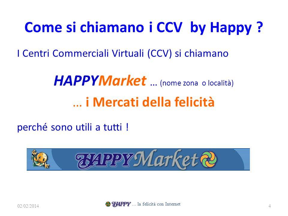 Come si chiamano i CCV by Happy ? I Centri Commerciali Virtuali (CCV) si chiamano HAPPYMarket … (nome zona o località) … i Mercati della felicità perc