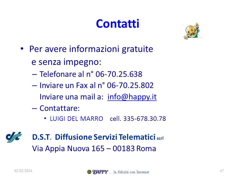 Contatti Per avere informazioni gratuite e senza impegno: – Telefonare al n° 06-70.25.638 – Inviare un Fax al n° 06-70.25.802 Inviare una mail a: info@happy.itinfo@happy.it – Contattare: LUIGI DEL MARRO cell.